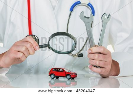 car is checked by a doctor. costs for maintenance and repair