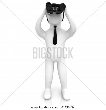 3D Businessman Looking Through Binoculars