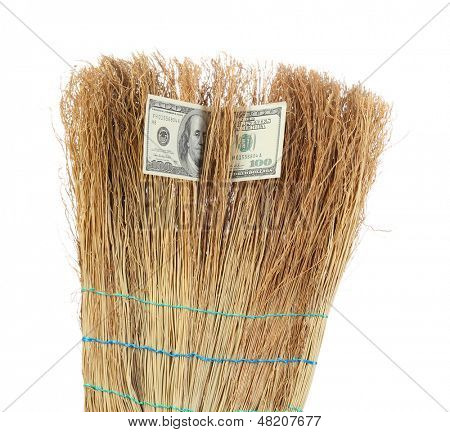 Broom sweep the dollars close-up