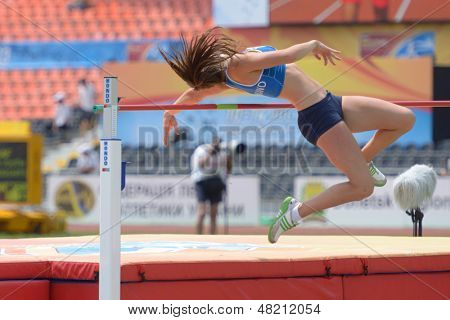DONETSK, UKRAINE - JULY 12: Maria Huntington of Finland competes in high jump competition in Heptathlon during 8th IAAF World Youth Championships in Donetsk, Ukraine on July 12, 2013