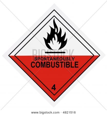 Spontaneously Combustible Warning Label