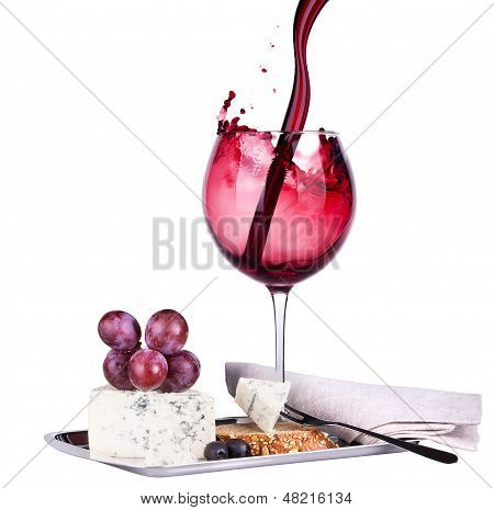 wine assortment cheese and grapes