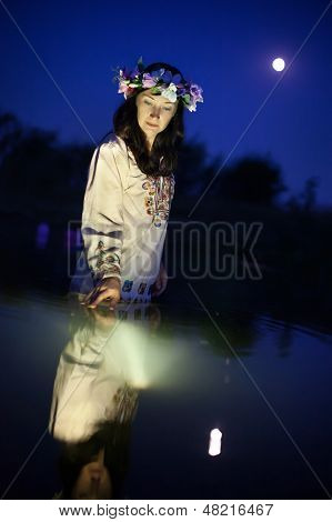 Beautiful Woman In The Night River