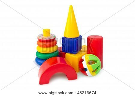 Box Of Bricks With The Pyramid And The Rattle.