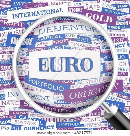 EURO. Word cloud illustration. Tag cloud concept collage. Vector text illustration.