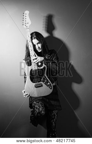 Female Guitar Player Black And White