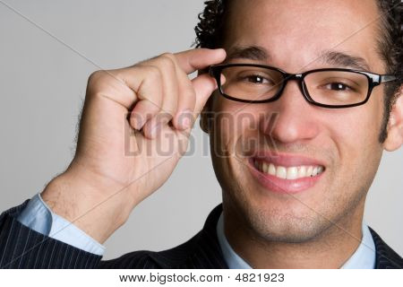 Handsome Businessman Wearing Glasses