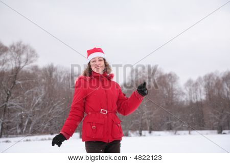 Happy Girl In Winter In Park