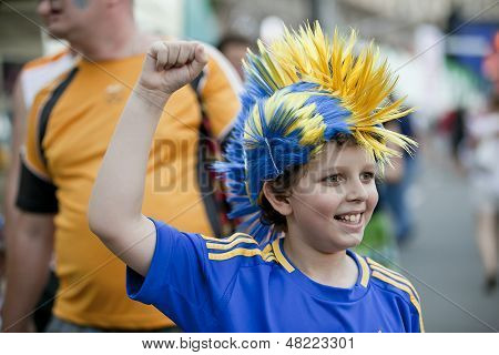 Young excited soccer fan