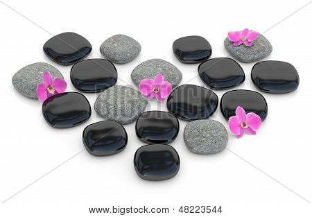 Zen Stones With Orchid In Form Of Heart. 3D Render