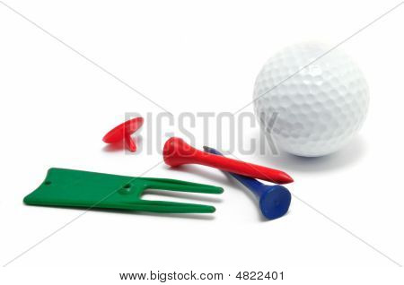 Golf Ball, Tees, Marker, And Divot Repair Tool