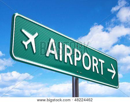 Sinal de trânsito de direção Aeroporto