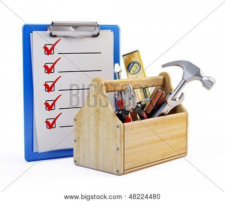 Portapapeles y caja de herramientas con herramientas