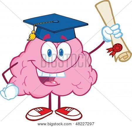 Happy Brain Character Graduate Holding up A Diploma