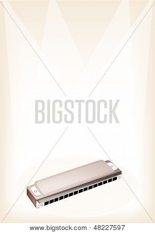 A Blues Harmonica On Brown Stage Background