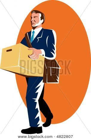 Unemployed Man Walking Out With Box