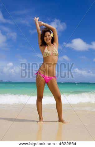 Polynesian Girl In A Pink Bikini