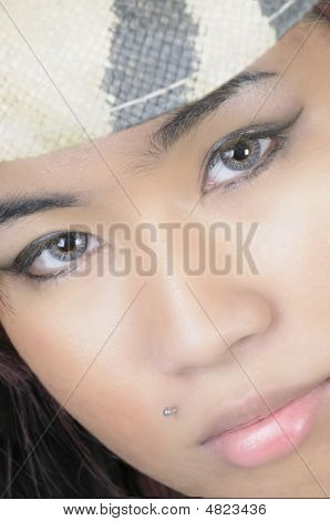 Pretty Young Asian Woman In Closeup