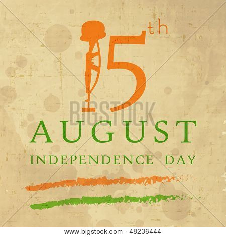 Vintage background for Indian Independence Day with text 15 August and illustration of Amar Jawan Jyoti.
