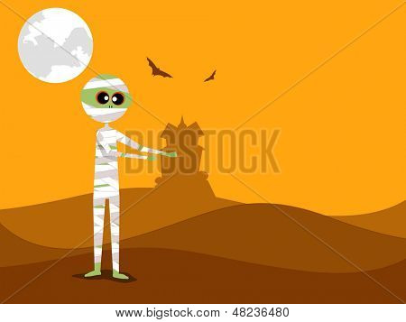 Halloween mummy in spooky moonlight night.