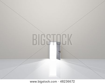 Single door in pure white space emits light