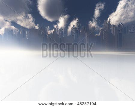 Surrreal weiße reflektierende Landschaft mit Stadt