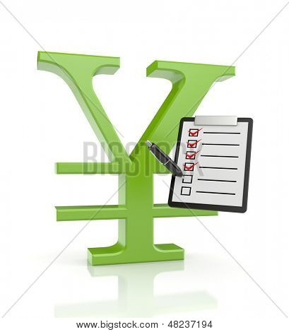 YEN sign with clipboard and pen