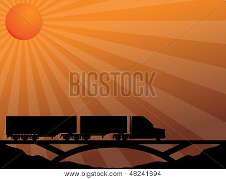 Truck On Bridge Passing In The Sunset