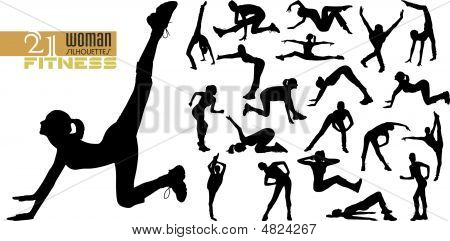 Doing Fitness Woman Silhouettes