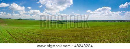 Panorama do campo de primavera