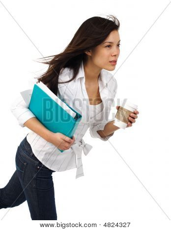 Businesswoman With Coffee In Motion