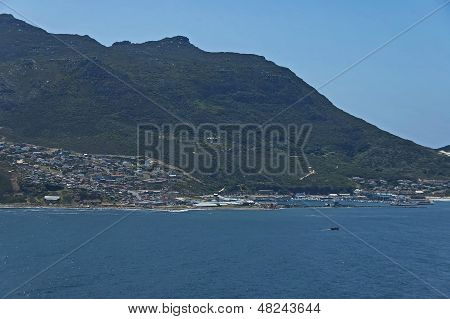Chapman's Peak Drive. View to Hout town harbor area.