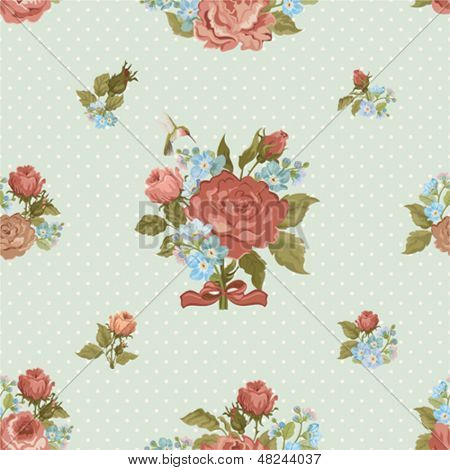 Seamless holiday background with roses and forget me not in vintage style.