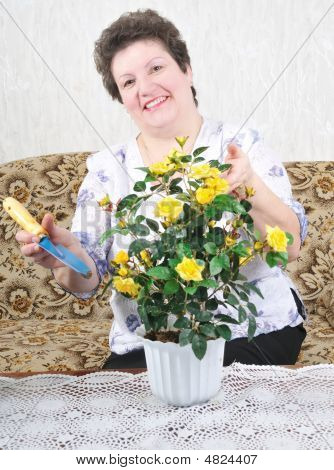 Nice Woman With Flower