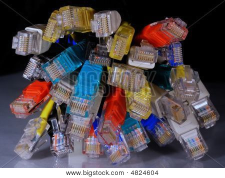 Varicoloured Network Connectors Rj45 On Black Background