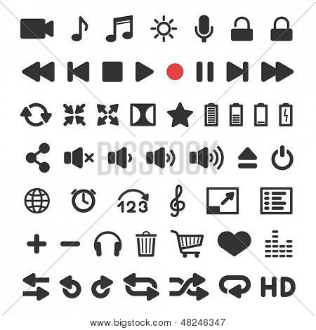 Media player icons set