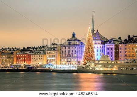Stockholm Skyline Cityscape at Night Sweden in Christmas