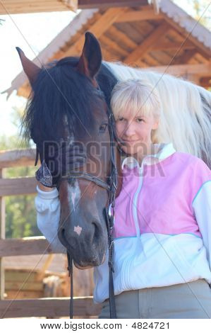 Beauty Woman With Horse