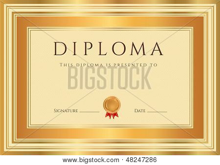 Certificate / Diploma template with bronze and gold border
