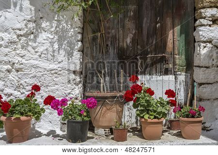 Pots with flowers in front of an old house