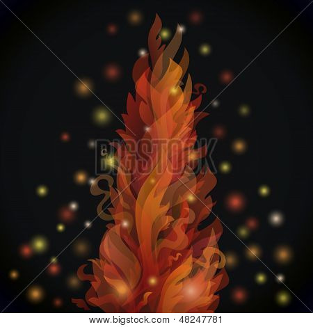Different fire flames on a black background with lights