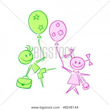 Happy kids going back to school with balloons