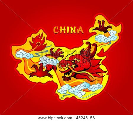 Map of China with a mighty sky dragon