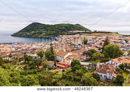 View of the city of Angra do Heroismo with Mount Brazil on Terceira Island
