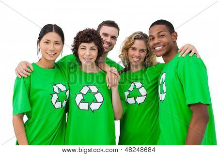 Group of people wearing green shirt with recycling symbol on it on white background