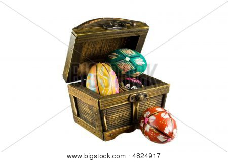 Four Easter Eggs In A Chest