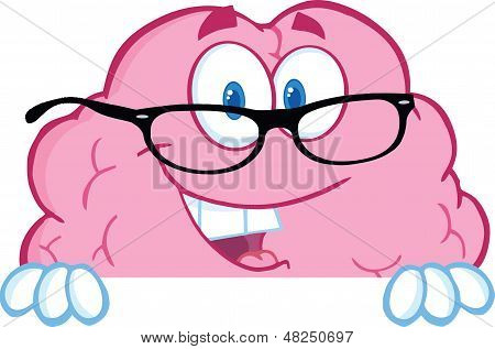 Smiling Brain Character  With Glasses Over A Blank Sign