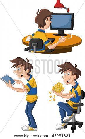 Hombre de dibujos animados usando Computadoras y tabletas