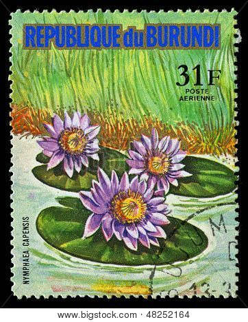 Republic Of Burundi - Circa 1974: A Stamp Printed In Republic Of Burundi Shows Nymphaea Capensis, Se