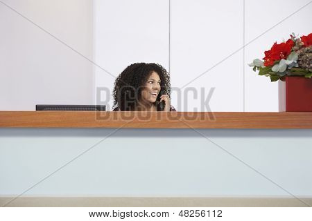Afro American receptionist talking on telephone behind reception desk